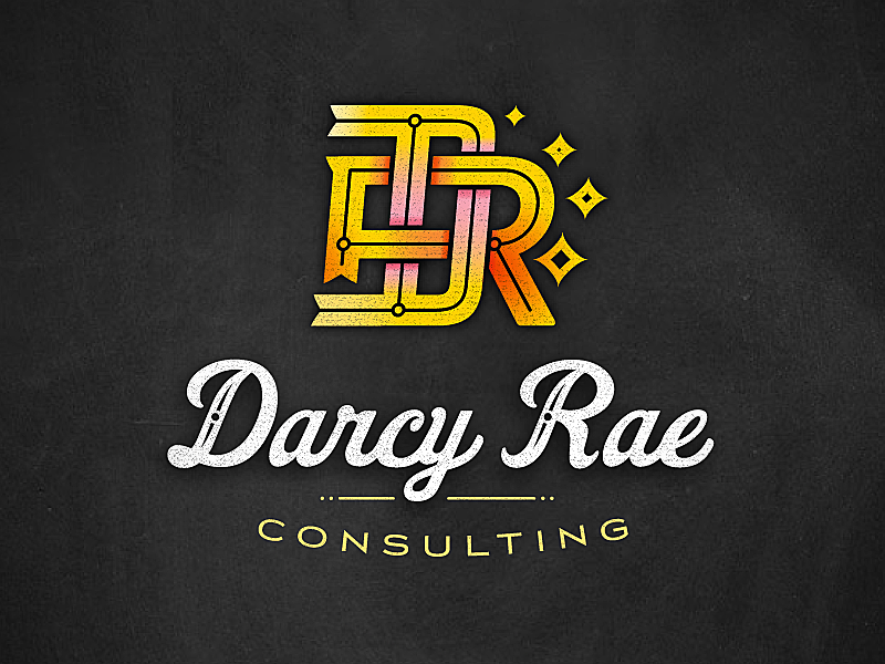 Darcy Rae logo icon monogram script typography
