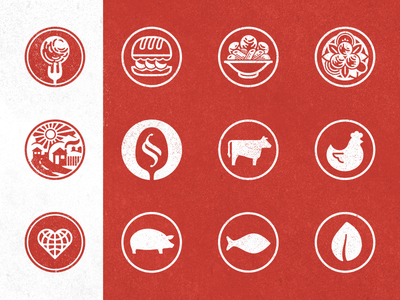 Meatballin' icons red meatball restaurant circles