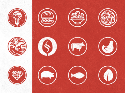 Meatballin' icons red meatball restaurant circles