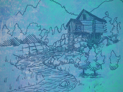 Skexture sketch tonal blue cabin crystal river trees creek apparel