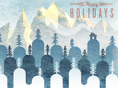 Happy Hillidays illustration christmas xmas mountains hills texture scene snow cabin