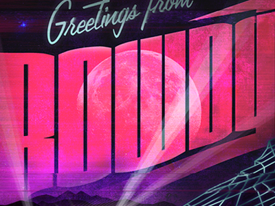 Rowdytown poster pink typography red rocks