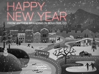 2013 2013 holiday illustration boulder flatirons snowman new year