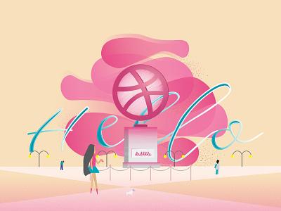 Hi Dribble vector illustration