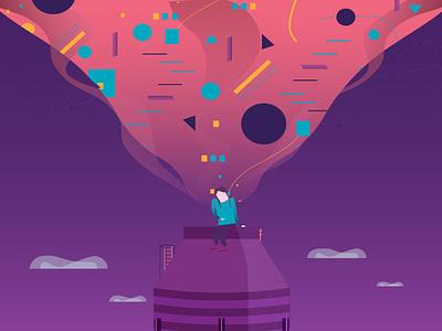 In The Sky illustration flat vector ui illustration phone