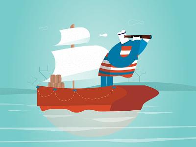 Sailor :) vector ilustration sailor ship sea