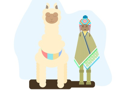 A boy and an Alpaca
