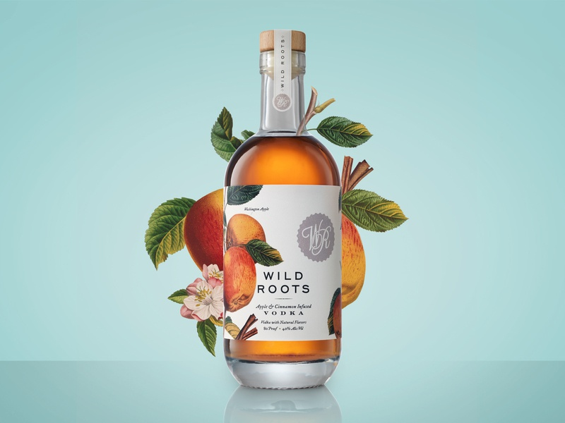 Wild Roots Packaging & Branding typography spirits label packaging packaging package design logo branding design label design alcohol packaging