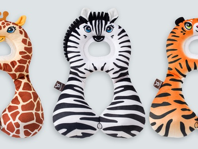 TRAVEL FRIENDS \ Toddlers Headrests toddler baby ben-bat benbat headrest leopard giraffe zebra tiger horse