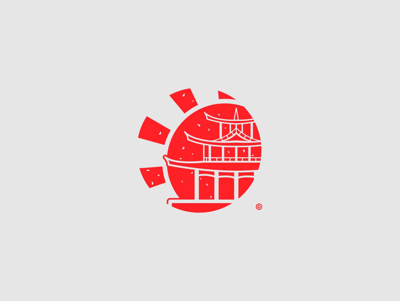 Japanese Pagoda Icon/Logo Conept japan japanese pagoda icon vector logo flat design branding