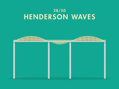 28/50: Henderson Waves bridge illustration flat design architecture buildings singapore