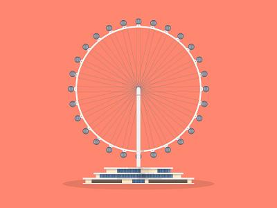 31/50: Singapore Flyer flyer flat design illustration buildings singapore architecture