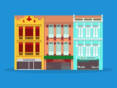 36/50: Chinatown Shophouses chinatown flat design illustration buildings singapore architecture