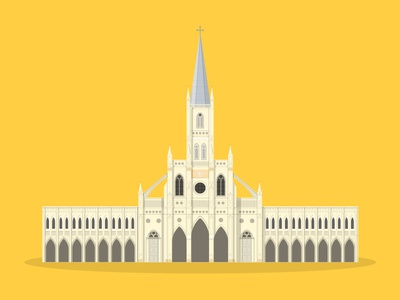 37/50: CHIJMES church chimes flat design illustration buildings singapore architecture