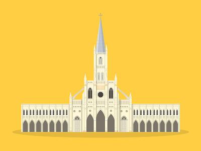 37/50: CHIJMES church chimes flat design illustration buildings singapore architecture