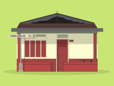 38/50: Kampung Buangkok kampung flat design illustration buildings singapore architecture
