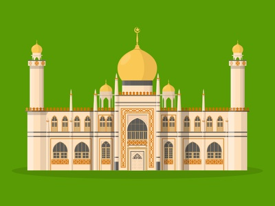 41/50: Masjid Sultan mosque sultan masjid flat design illustration buildings singapore architecture