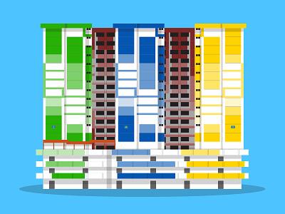 42/50: Rochor Centre rochor singapore illustration flat design architecture buildings