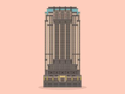 44/50: Parkview Square art deco gotham square parkview singapore illustration flat design architecture buildings