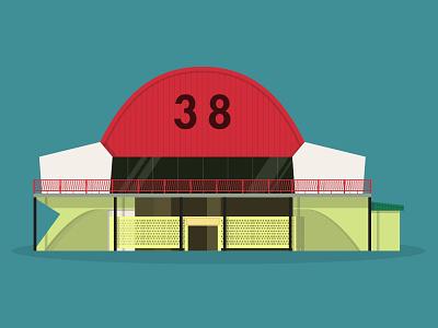 "47/50: ""The Coffin Market"" market coffin singapore illustration flat design architecture buildings"