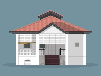 49/50: 38 Oxley Road lee kuan yew 38 oxley road singapore illustration flat design architecture buildings