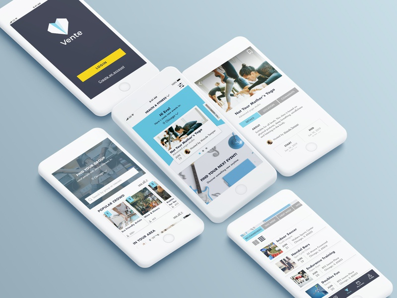 Vente mobile app product product design interaction event user experience user interface ux uiux sketch mobile ui color app branding flat vector graphic design