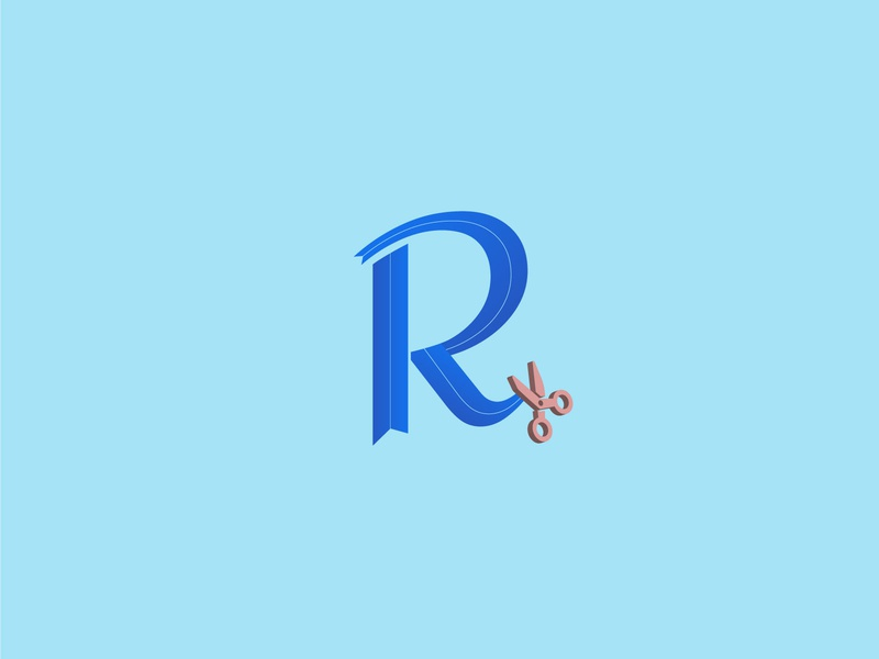 Ribbon - Daily Logo Challenge: Day 4 - Single Letter Logo idenity brand identity scissor craft ribbon branding illustration vector graphic design color challenge logo design logo daily dailylogochallenge