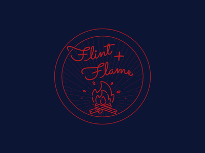 Flint & Flame - Daily Logo Challenge: Day 10 - Flame Logo stamp line art line bbq flame fire dailylogochallenge challenge logodesign daily logo design logo illustration flat animation 2d animation branding vector graphic design