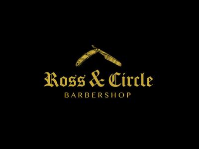 Ross & Circle - Daily Logo Challenge: Day 13 - Barbershop mockup sign old school barbershop challenge logodesign logotype daily dailylogochallenge logo design typography logo illustration flat branding vector graphic design