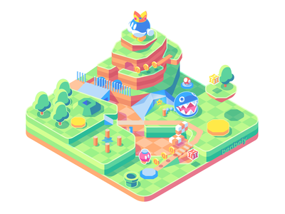 Bob-Omb Battlefield - Super Mario 64 land isometric star pipe game level bomb coins mushroom chomp nintendo64 nintendo supermario64 mario bob-omb