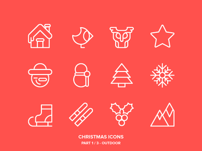 Christmas Icons Freebie 1/3 - Outdoor new year holidays ski winter owl snowman snow outdoor outline icons christmas freebie