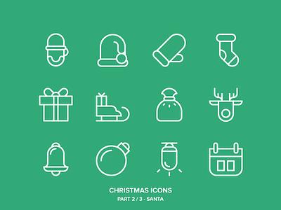 Christmas Icons Freebie 2/3 - Santa new year winter snowman snow ski owl outdoor holidays freebie christmas outline icons