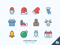 Christmas Icons Freebie 2/3 - Santa new year winter snowman snow ski owl outdoor holidays freebie christmas outline icons
