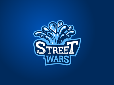 Logo proposition 2 wars fountain watergun splash water street games vector logo