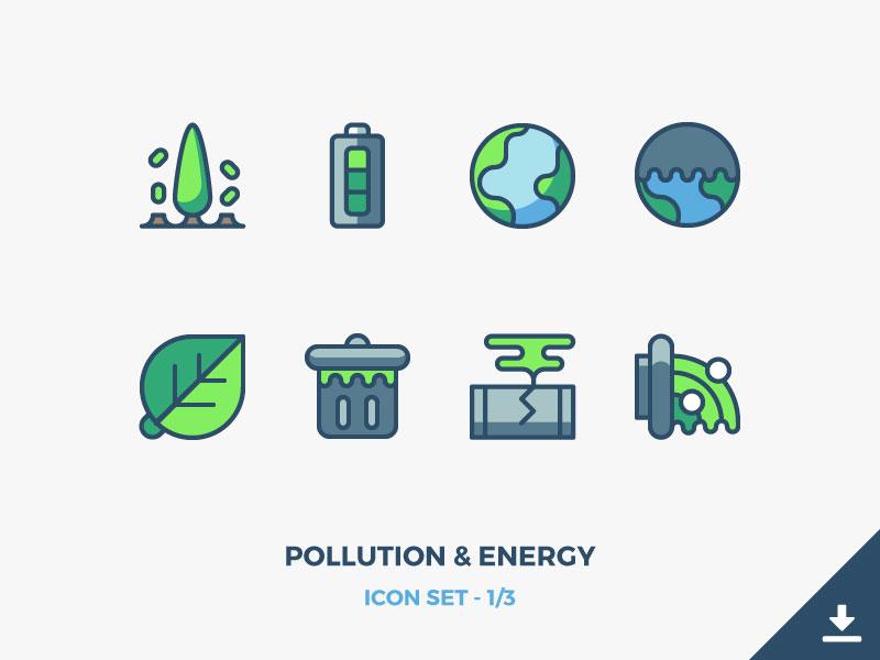 Pollution & Energy Icons Freebie environement eco pollute earth environmental renewable energy pollution outline icons freebie