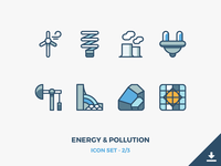 Energy & Pollution Icons Freebie renewable pollution pollute environmental environement energy eco earth freebie icons outline