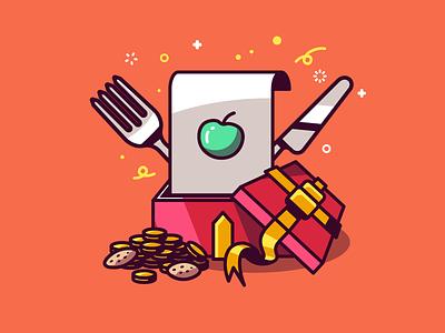 Gloupii App reward ribbon cookies gold apple present reward app food