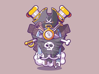 Pirate Season helm map sword bone ropes anchor water bombs compass hat guns pirate