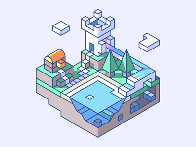 Towerfall 3d isometric land level game chest tower fall lake trees mine castle