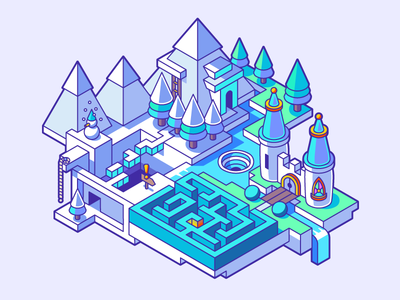 Ice land wonderland level quest isometric game whirlpool castle maze snow moutain land ice