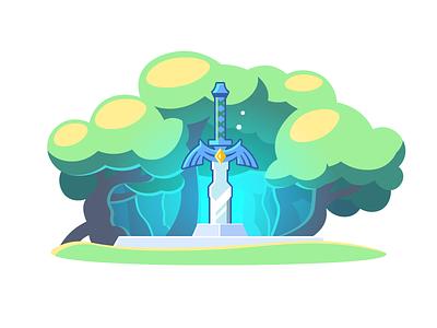 Master Sword zelda sword legend lost woods botw excalibur forest master sword link nintendo switch game