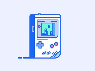 Gameboy - Japan life vector outline japan illustration 90s retro videogame game tetris console nintendo gameboy
