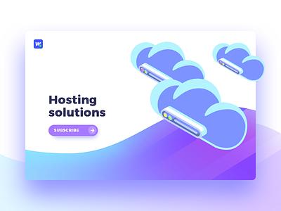 Hosting solutions stock memory cloud server hosting host interface wordpress website ux ui
