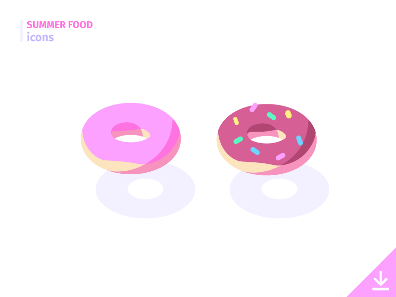 Donuts - 'Summer Food' icon set sugar pastry cake vector freebies sweet dessert donuts icon food summer