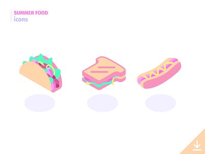 Sandwiches - 'Summer Food' icon set freebies summer food food summer vector icon junk food picnic hotdog sandwich tacos