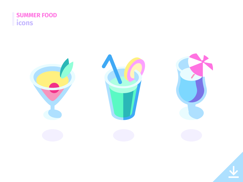 Cocktails - 'Summer Food' icon set freebies summer food food summer vector icons alcohol beverage glass drink cocktails