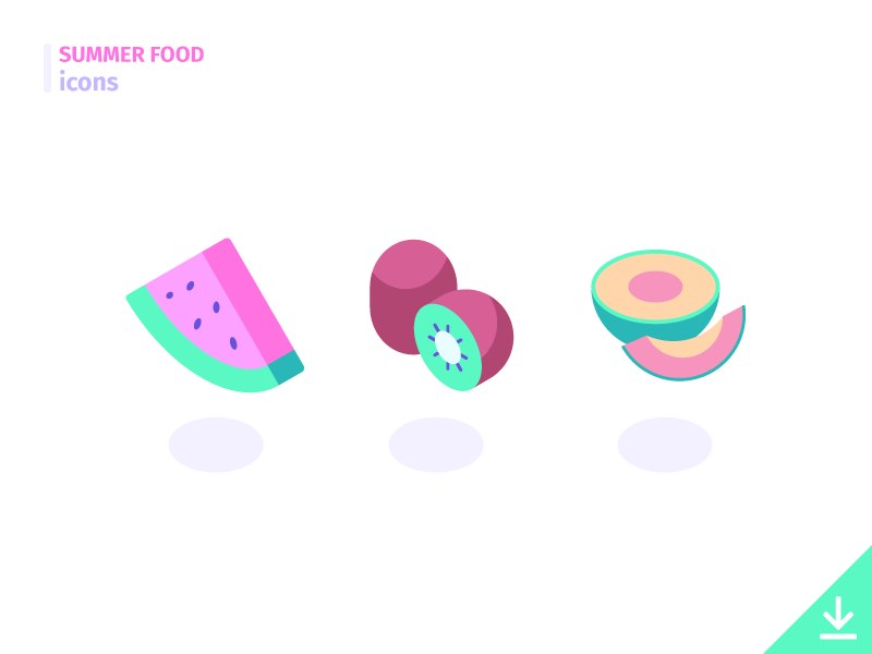 Fruits - 'Summer Food' icon set freebies summer food food summer vector icons melon kiwi watermelon vitamins fruits