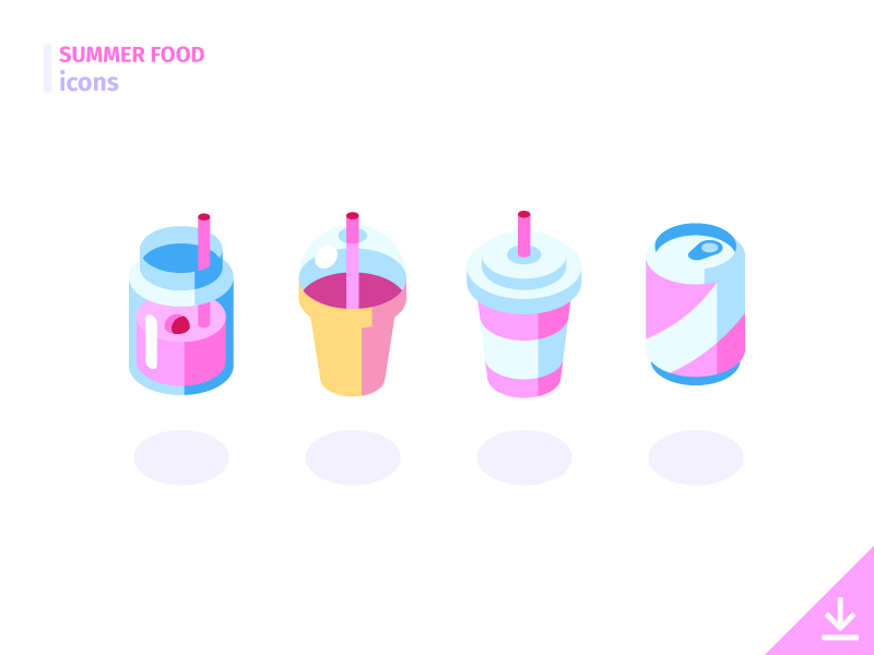 Drinks - 'Summer Food' icon set isometric freebies summer food food summer vector icons cocktail milkshake soda beverage drink