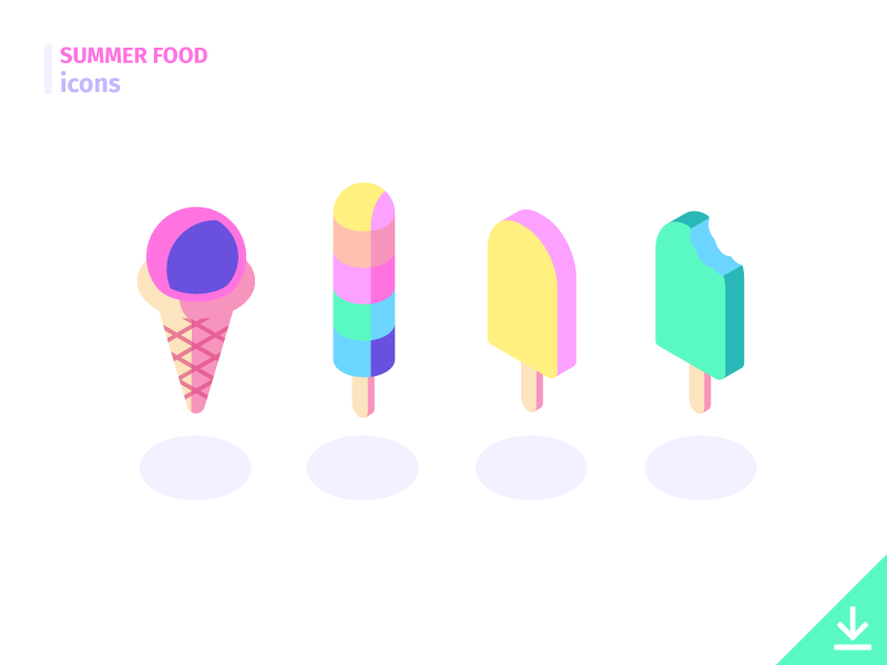 IceCream - 'Summer Food' icon set freebies summer food food summer icons isometric dessert sherbet cone popsicle ice cream icecream