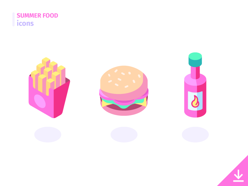 Burger Fries Summer Food Icon Set By Ben Bely For Icon